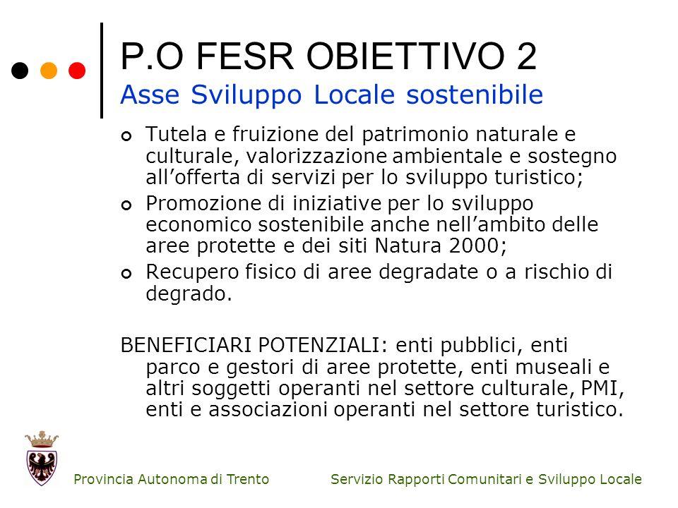 Servizio Rapporti Comunitari e Sviluppo Locale Provincia Autonoma di Trento P.O FESR OBIETTIVO 2 Asse Sviluppo Locale sostenibile Tutela e fruizione d