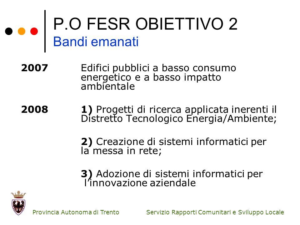 Servizio Rapporti Comunitari e Sviluppo Locale Provincia Autonoma di Trento P.O FESR OBIETTIVO 2 Bandi emanati 2007 Edifici pubblici a basso consumo e