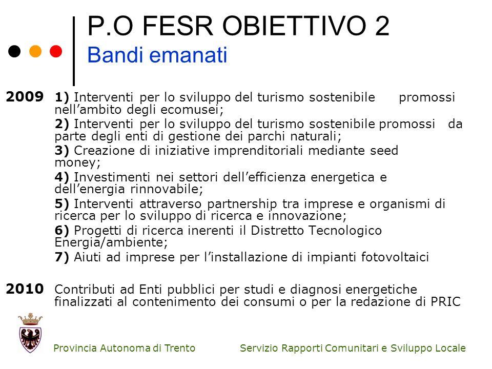 Servizio Rapporti Comunitari e Sviluppo Locale Provincia Autonoma di Trento P.O FESR OBIETTIVO 2 Bandi emanati 2009 1) Interventi per lo sviluppo del