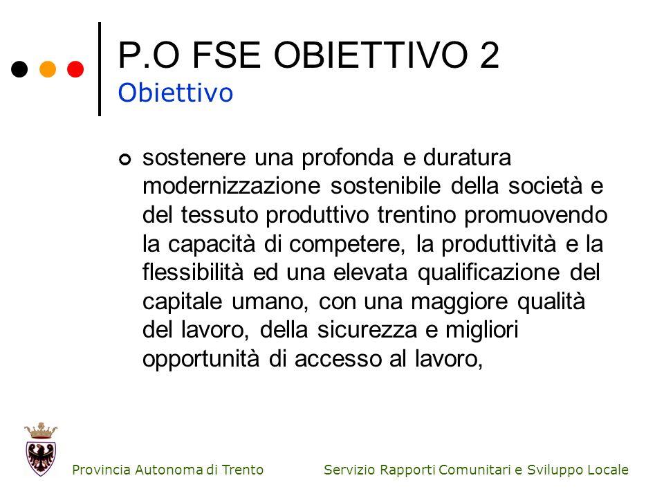 Servizio Rapporti Comunitari e Sviluppo Locale Provincia Autonoma di Trento P.O FSE OBIETTIVO 2 Obiettivo sostenere una profonda e duratura modernizza