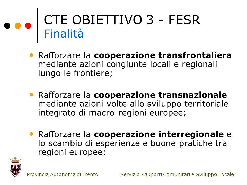 Servizio Rapporti Comunitari e Sviluppo Locale Provincia Autonoma di Trento CTE OBIETTIVO 3 - FESR Finalità Rafforzare la cooperazione transfrontalier