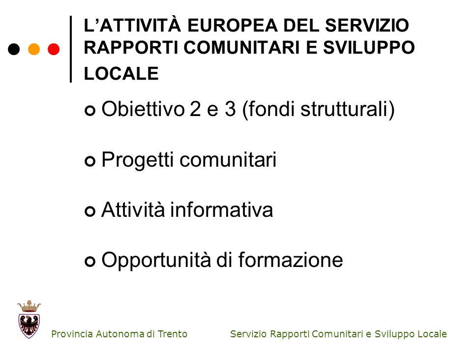 Servizio Rapporti Comunitari e Sviluppo Locale Provincia Autonoma di Trento P.O FESR OBIETTIVO 2 Dati finanziari Dotazione finanziaria complessiva: 64.287.142 euro (di cui FESR 30%; Stato italiano 40%; Provincia autonoma di Trento 30%) Impegni totali (dati al 31 agosto 2010): 29.455.523,93 euro; Pagamenti totali(dati al 31 agosto 2010): 12.762.006,95 euro.