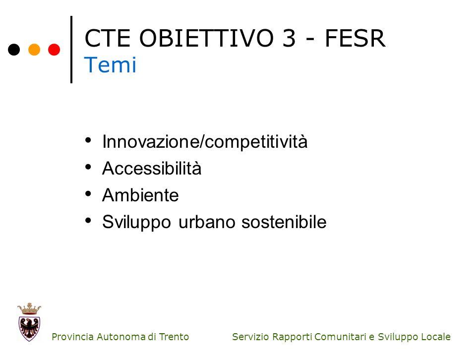 Servizio Rapporti Comunitari e Sviluppo Locale Provincia Autonoma di Trento CTE OBIETTIVO 3 - FESR Temi Innovazione/competitività Accessibilità Ambien