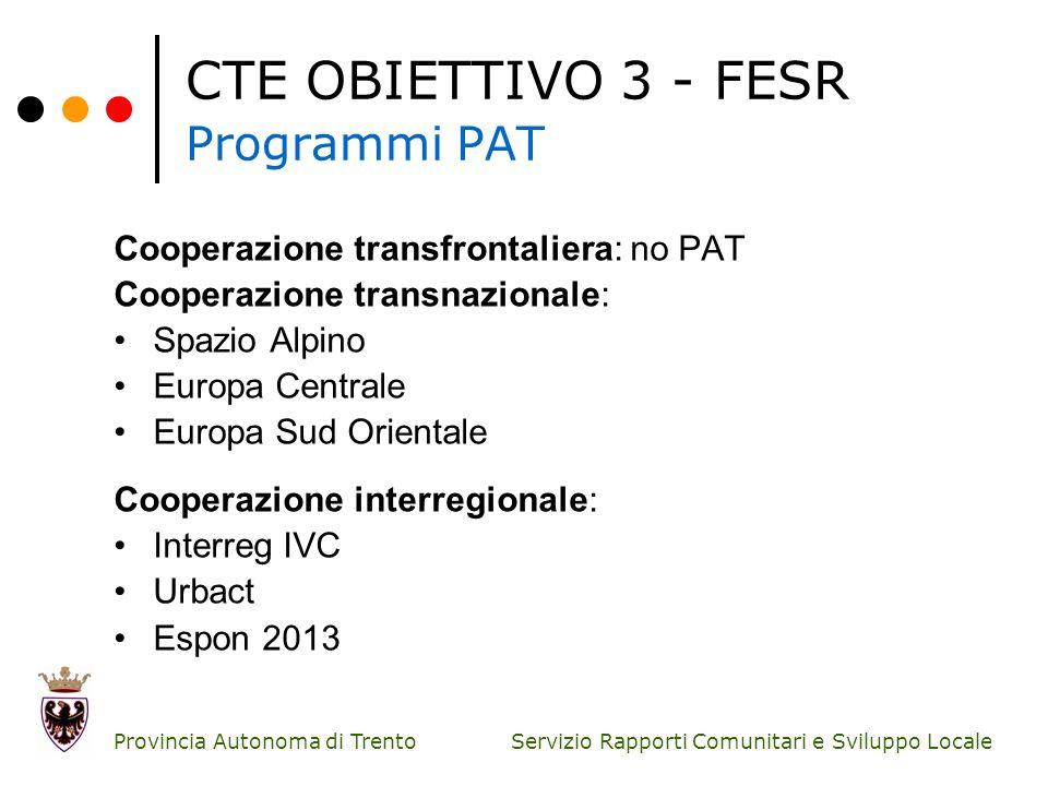 Servizio Rapporti Comunitari e Sviluppo Locale Provincia Autonoma di Trento CTE OBIETTIVO 3 - FESR Programmi PAT Cooperazione transfrontaliera: no PAT