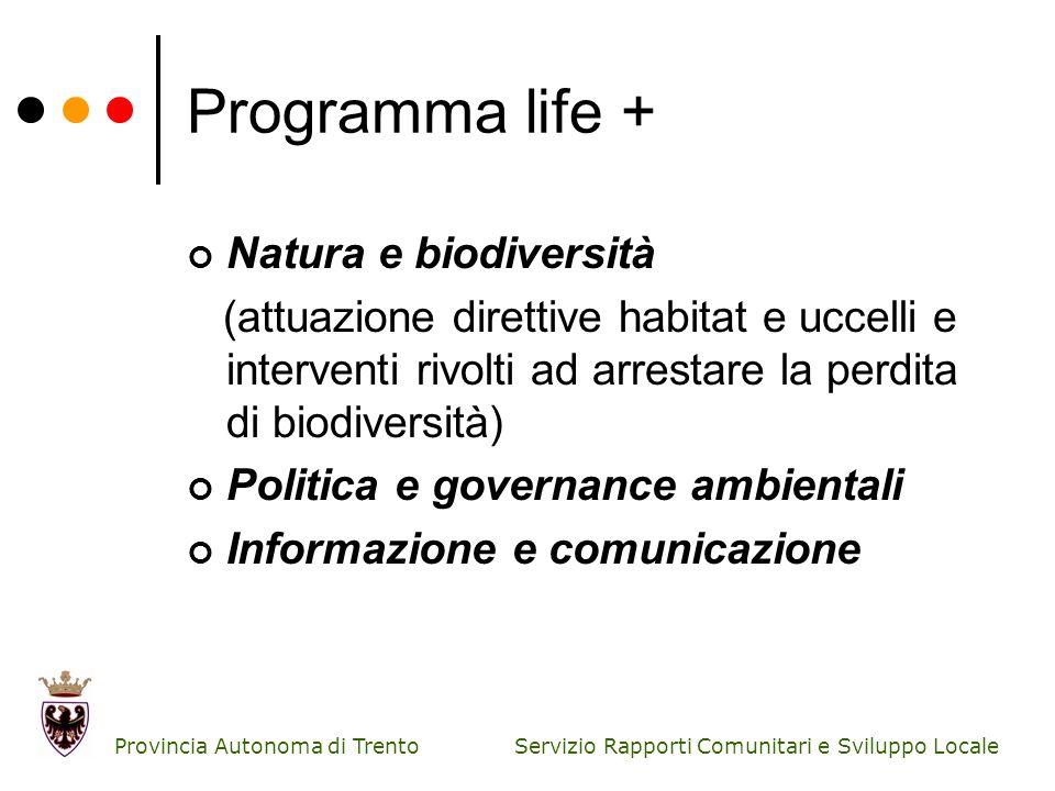 Servizio Rapporti Comunitari e Sviluppo Locale Provincia Autonoma di Trento Programma life + Natura e biodiversità (attuazione direttive habitat e ucc