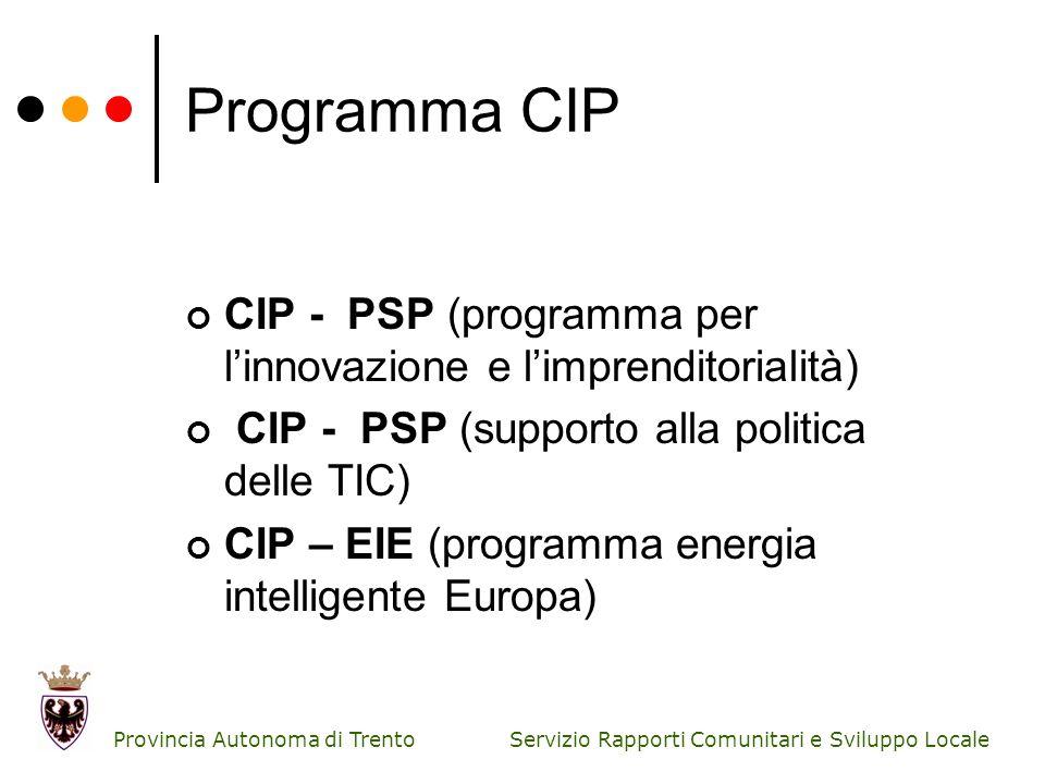 Servizio Rapporti Comunitari e Sviluppo Locale Provincia Autonoma di Trento Programma CIP CIP - PSP (programma per linnovazione e limprenditorialità)