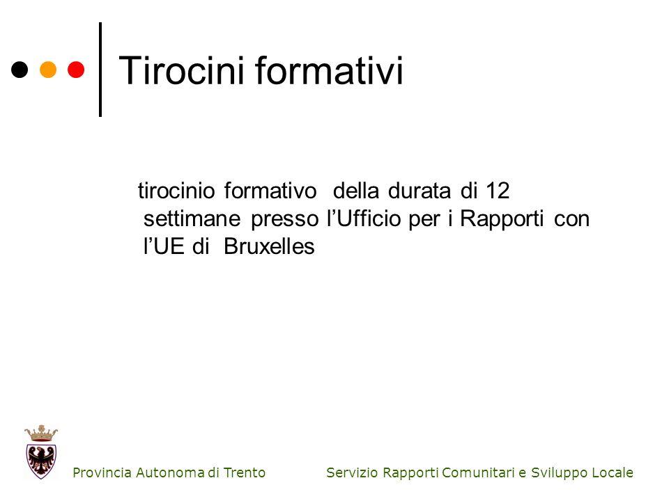 Servizio Rapporti Comunitari e Sviluppo Locale Provincia Autonoma di Trento Tirocini formativi tirocinio formativo della durata di 12 settimane presso