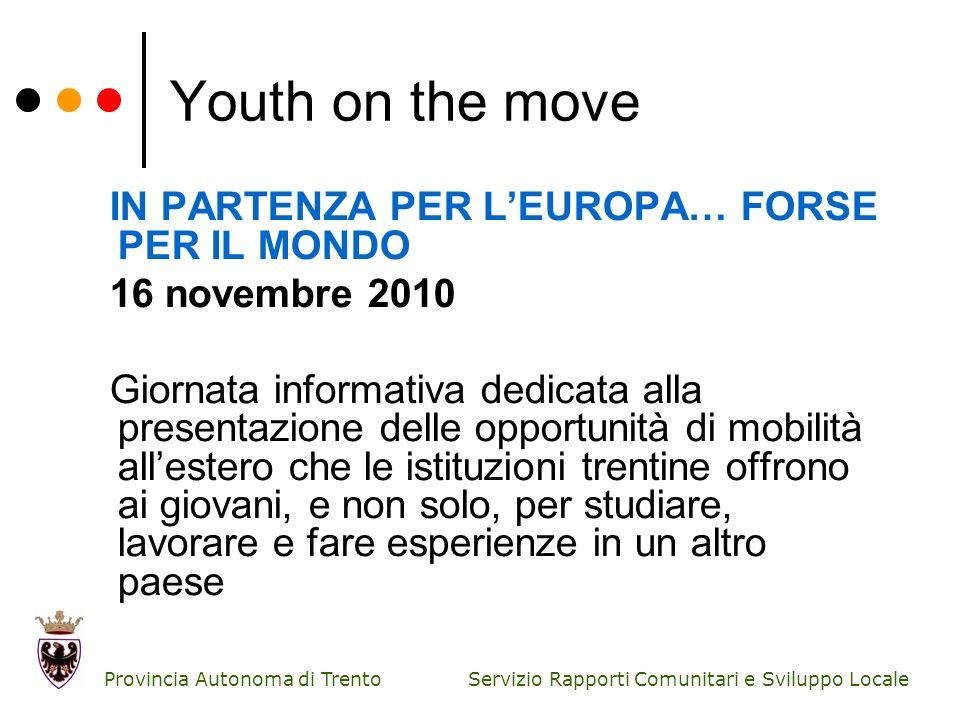 Servizio Rapporti Comunitari e Sviluppo Locale Provincia Autonoma di Trento Youth on the move IN PARTENZA PER LEUROPA… FORSE PER IL MONDO 16 novembre