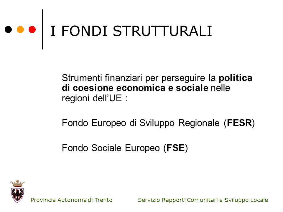 Servizio Rapporti Comunitari e Sviluppo Locale Provincia Autonoma di Trento I FONDI STRUTTURALI Obiettivi Obiettivo 1:Convergenza Obiettivo 2:Competitività regionale e occupazione Obiettivo 3:Cooperazione territoriale europea (ex-Interreg)