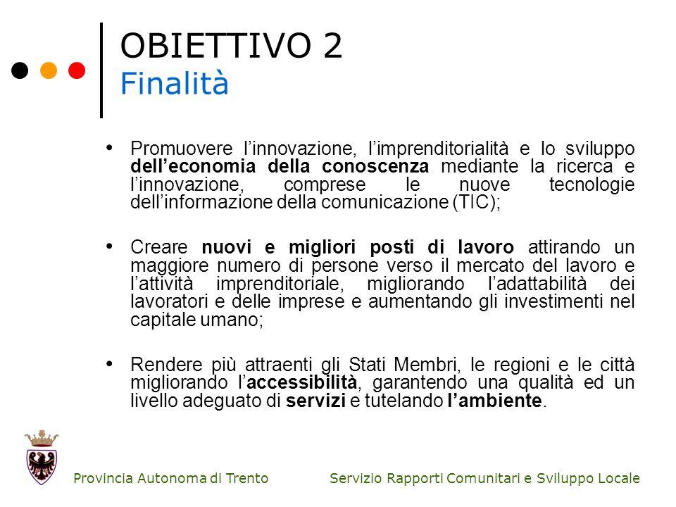Servizio Rapporti Comunitari e Sviluppo Locale Provincia Autonoma di Trento OBIETTIVO 2 Finalità Promuovere linnovazione, limprenditorialità e lo svil