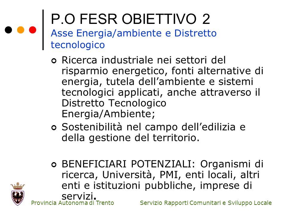 Servizio Rapporti Comunitari e Sviluppo Locale Provincia Autonoma di Trento P.O FESR OBIETTIVO 2 Asse Energia/ambiente e Distretto tecnologico Ricerca