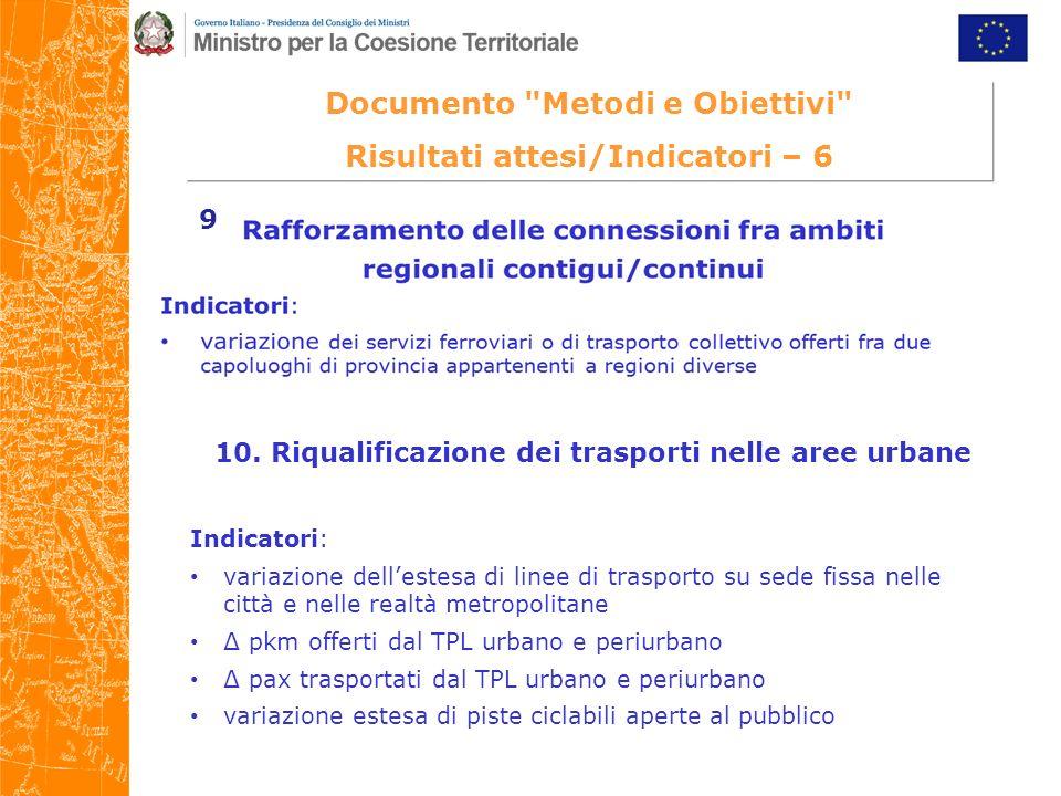 Documento Metodi e Obiettivi Risultati attesi/Indicatori – 6 10.