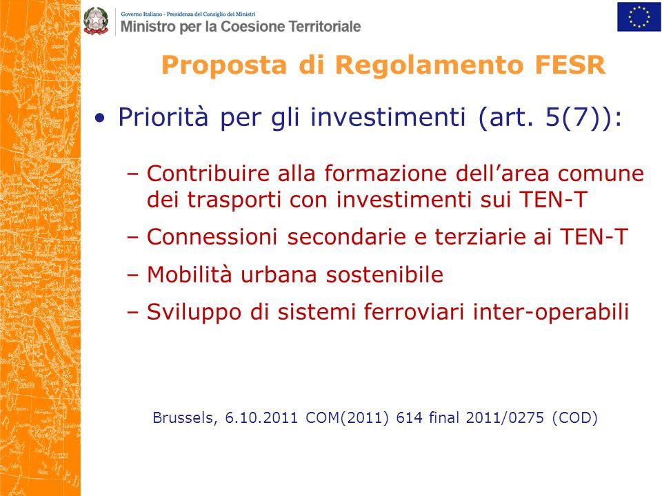 Proposta di Regolamento FESR Priorità per gli investimenti (art.