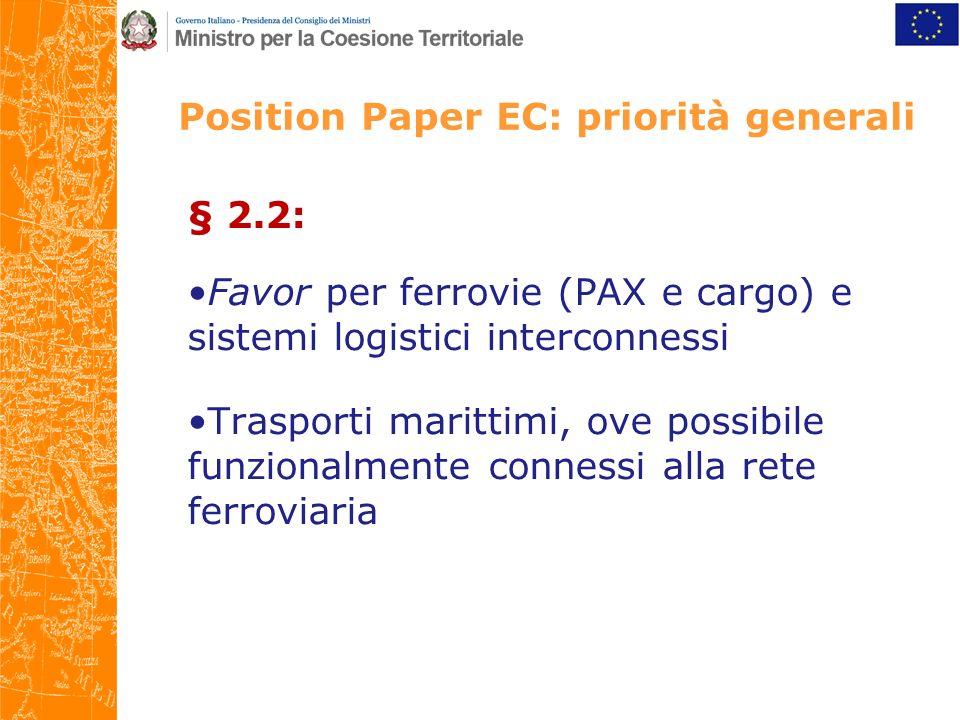Position Paper EC: priorità generali § 2.2: Favor per ferrovie (PAX e cargo) e sistemi logistici interconnessi Trasporti marittimi, ove possibile funzionalmente connessi alla rete ferroviaria