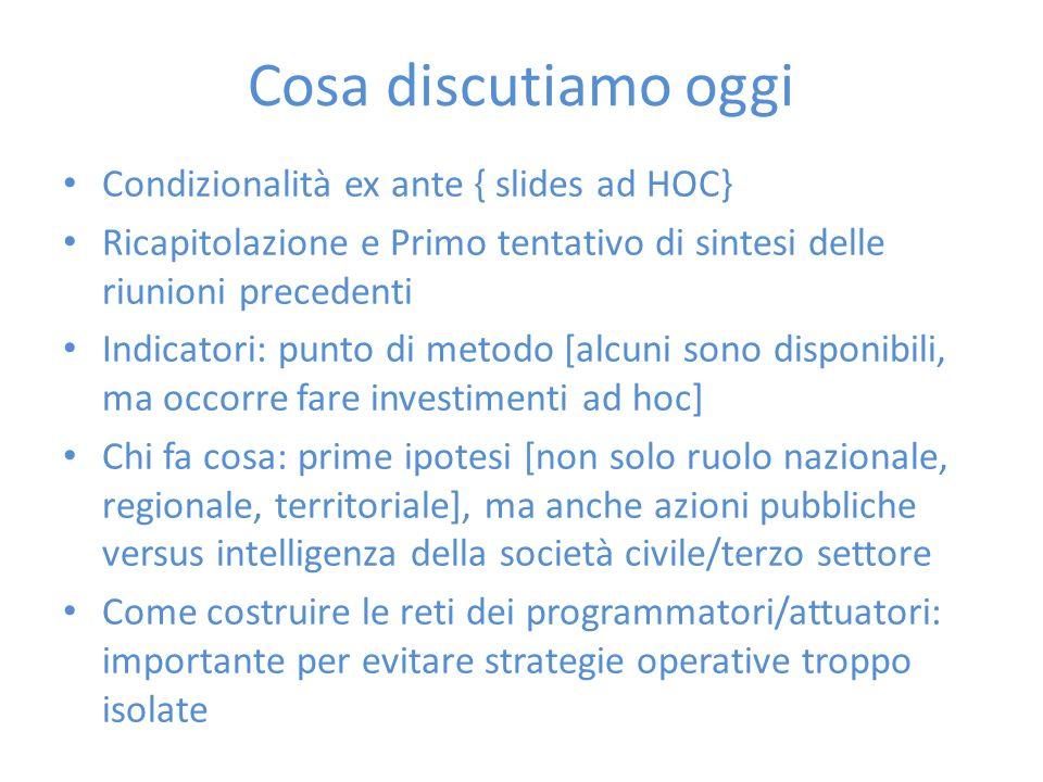 Cosa discutiamo oggi Condizionalità ex ante { slides ad HOC} Ricapitolazione e Primo tentativo di sintesi delle riunioni precedenti Indicatori: punto