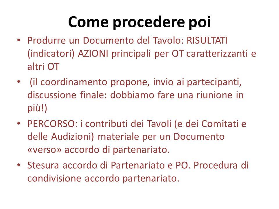 Come procedere poi Produrre un Documento del Tavolo: RISULTATI (indicatori) AZIONI principali per OT caratterizzanti e altri OT (il coordinamento prop