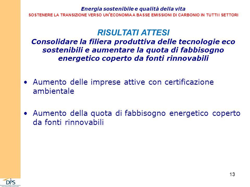 Aumento delle imprese attive con certificazione ambientale Aumento della quota di fabbisogno energetico coperto da fonti rinnovabili Energia sostenibile e qualità della vita SOSTENERE LA TRANSIZIONE VERSO UN ECONOMIA A BASSE EMISSIONI DI CARBONIO IN TUTTI I SETTORI RISULTATI ATTESI Consolidare la filiera produttiva delle tecnologie eco sostenibili e aumentare la quota di fabbisogno energetico coperto da fonti rinnovabili 13
