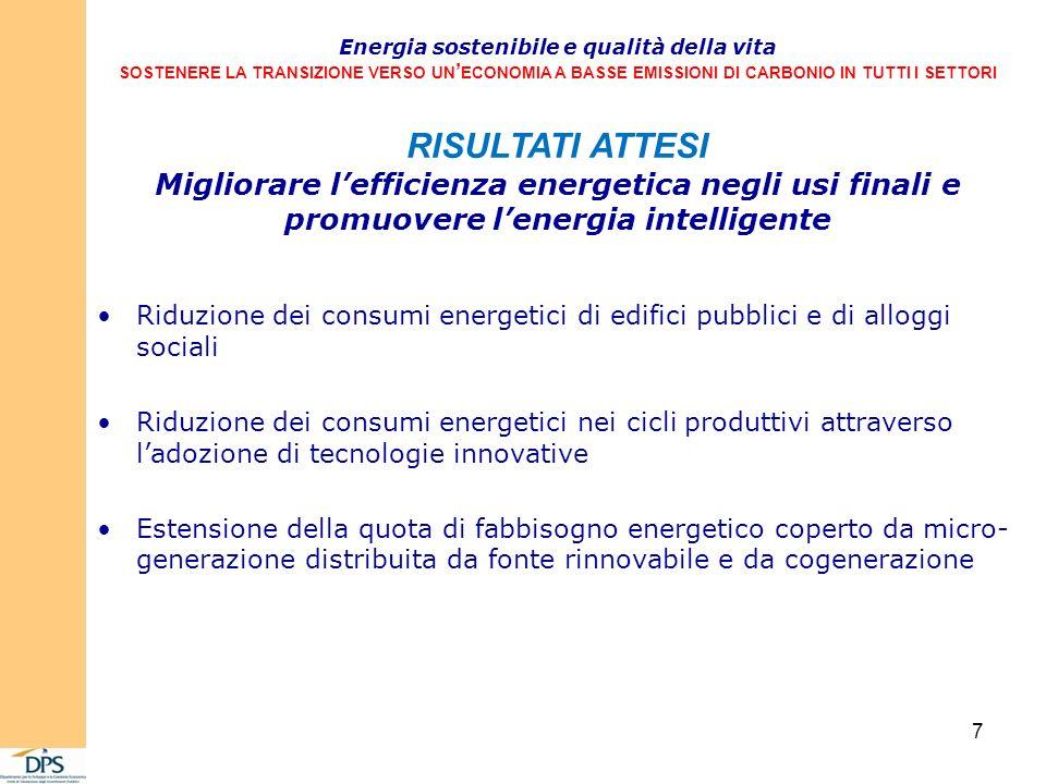 Riduzione dei consumi energetici di edifici pubblici e di alloggi sociali Riduzione dei consumi energetici nei cicli produttivi attraverso ladozione di tecnologie innovative Estensione della quota di fabbisogno energetico coperto da micro- generazione distribuita da fonte rinnovabile e da cogenerazione Energia sostenibile e qualità della vita SOSTENERE LA TRANSIZIONE VERSO UN ECONOMIA A BASSE EMISSIONI DI CARBONIO IN TUTTI I SETTORI RISULTATI ATTESI Migliorare lefficienza energetica negli usi finali e promuovere lenergia intelligente 7