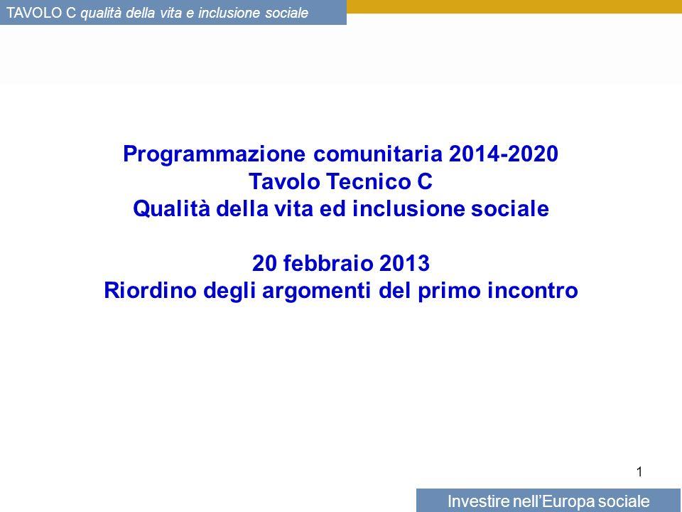 Investire nellEuropa sociale TAVOLO C qualità della vita e inclusione sociale Le priorità dellagenda Europa 2020 Obiettivo della strategia Europa 2020: ridurre di 20 milioni le persone a rischio di povertà o di esclusione sociale.
