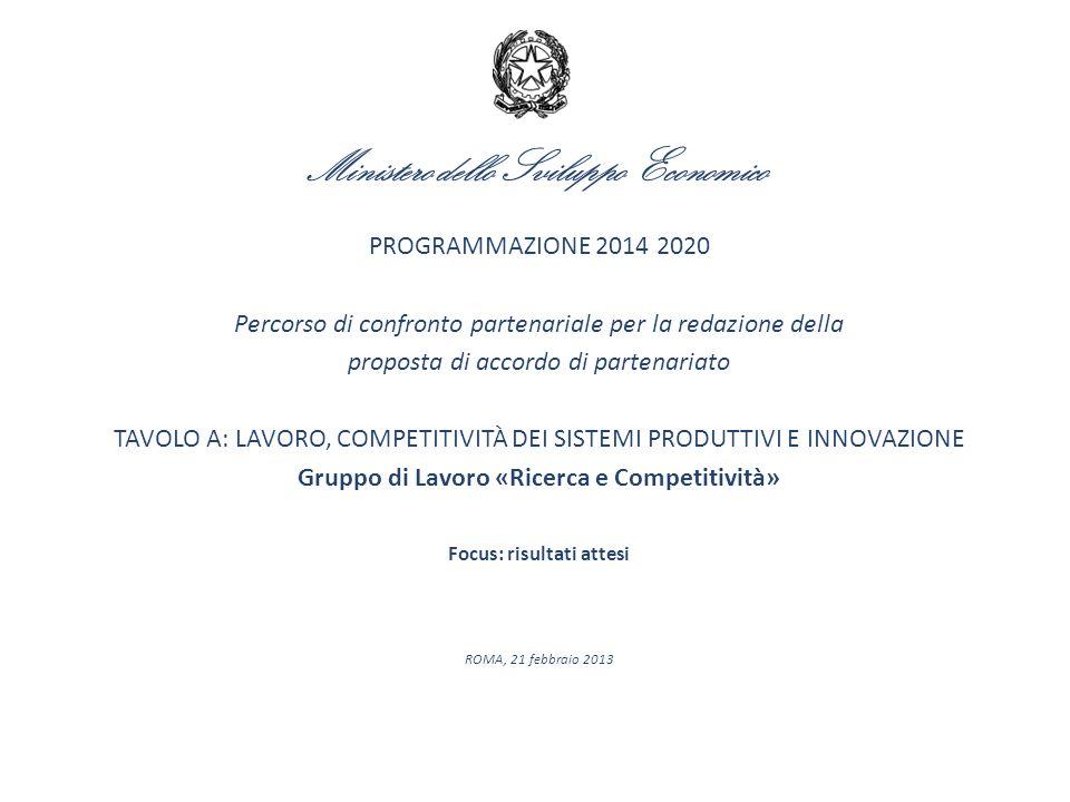 Ministero dello Sviluppo Economico PROGRAMMAZIONE 2014 2020 Percorso di confronto partenariale per la redazione della proposta di accordo di partenari