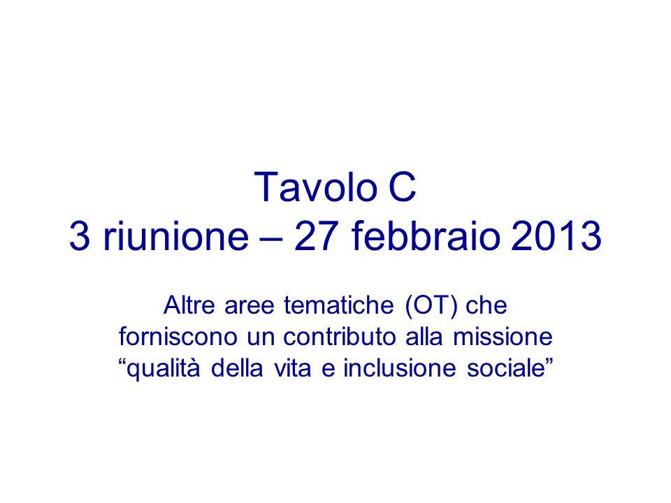 Tavolo C 3 riunione – 27 febbraio 2013 Altre aree tematiche (OT) che forniscono un contributo alla missione qualità della vita e inclusione sociale