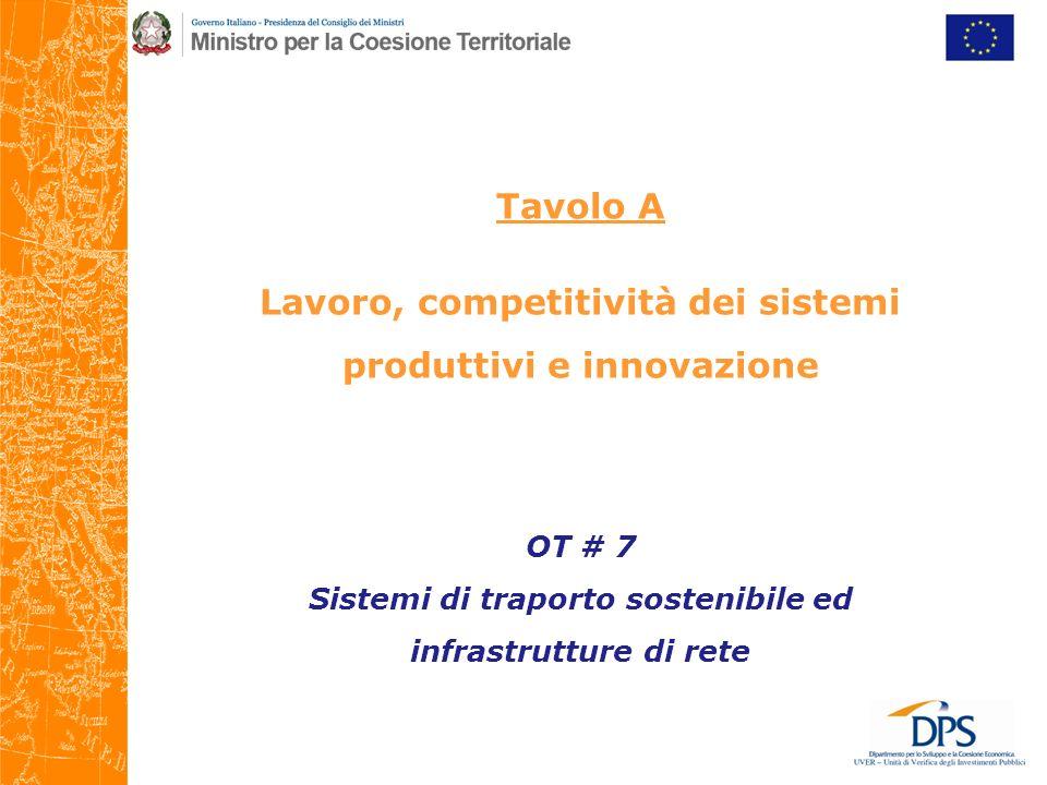 Tavolo A Lavoro, competitività dei sistemi produttivi e innovazione OT # 7 Sistemi di traporto sostenibile ed infrastrutture di rete