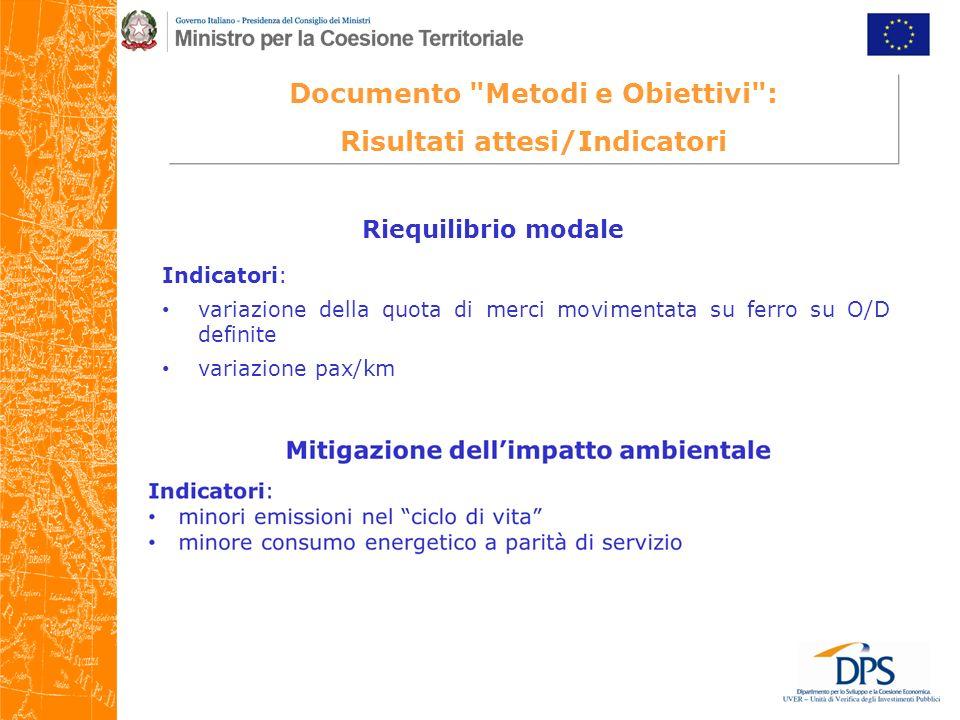 Documento Metodi e Obiettivi : Risultati attesi/Indicatori Riequilibrio modale Indicatori: variazione della quota di merci movimentata su ferro su O/D definite variazione pax/km