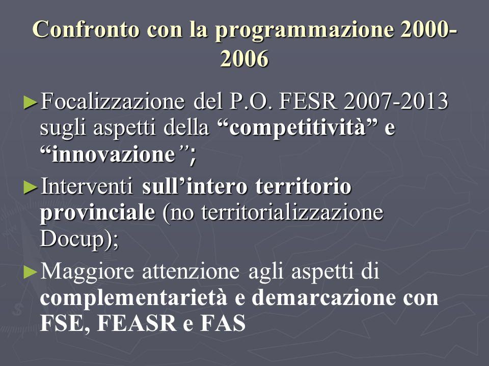 Confronto con la programmazione 2000- 2006 Focalizzazione del P.O.