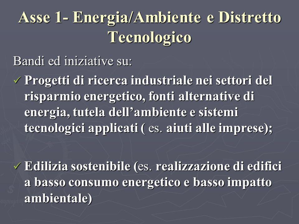 Asse 1- Energia/Ambiente e Distretto Tecnologico Bandi ed iniziative su: Progetti di ricerca industriale nei settori del risparmio energetico, fonti alternative di energia, tutela dellambiente e sistemi tecnologici applicati ( es.