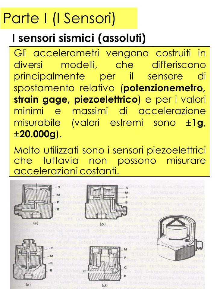 Parte I (I Sensori) Gli accelerometri vengono costruiti in diversi modelli, che differiscono principalmente per il sensore di spostamento relativo ( p