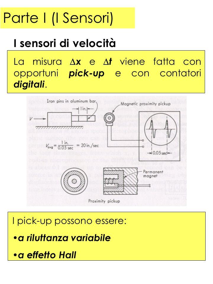 Parte I (I Sensori) La misura x e t viene fatta con opportuni pick-up e con contatori digitali. I sensori di velocità I pick-up possono essere: a rilu