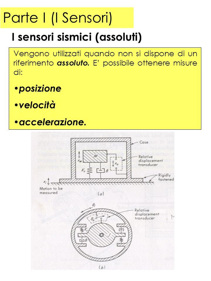 Parte I (I Sensori) Un sensore di posizione assoluto presenta la seguente funzione di risposta armonica (il sistema viene utilizzato per analisi di moti vibrazionali): I sensori sismici (assoluti) Poiché si vuole un valore basso della frequenza propria del sistema, occorre avere masse grandi o molle molto cedevoli.