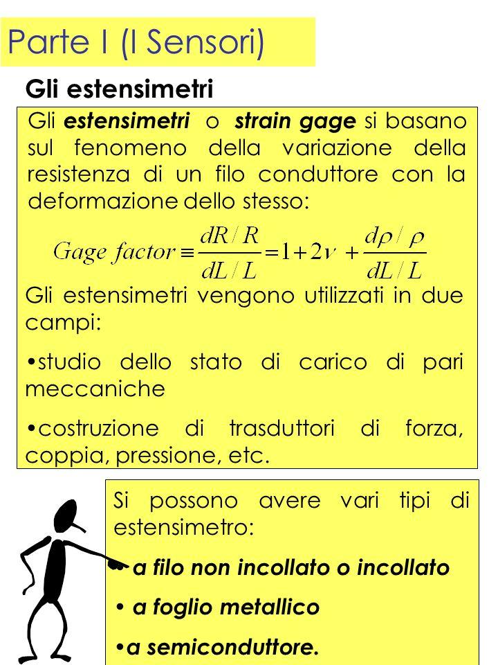 Parte I (I Sensori) Gli estensimetri o strain gage si basano sul fenomeno della variazione della resistenza di un filo conduttore con la deformazione
