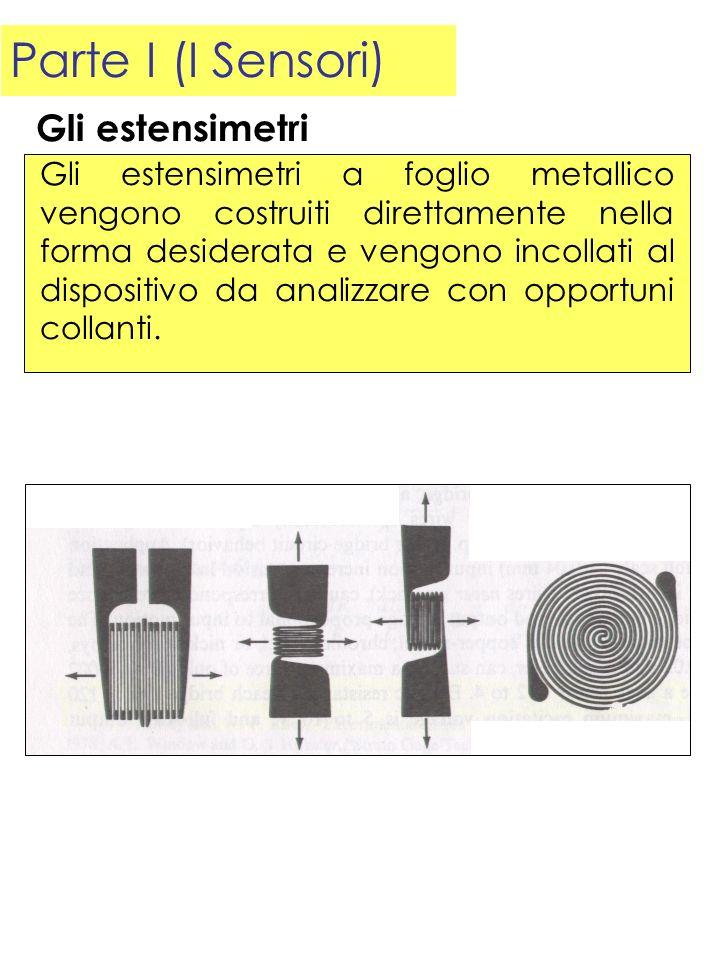 Parte I (I Sensori) Gli estensimetri a foglio metallico vengono costruiti direttamente nella forma desiderata e vengono incollati al dispositivo da an