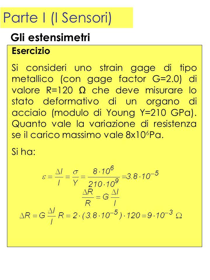 Parte I (I Sensori) Esercizio Si consideri uno strain gage di tipo metallico (con gage factor G=2.0) di valore R=120 che deve misurare lo stato deform