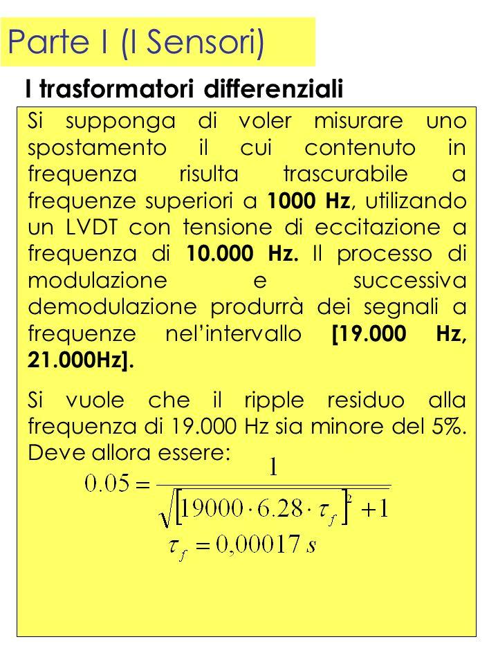 Parte I (I Sensori) Si supponga di voler misurare uno spostamento il cui contenuto in frequenza risulta trascurabile a frequenze superiori a 1000 Hz,