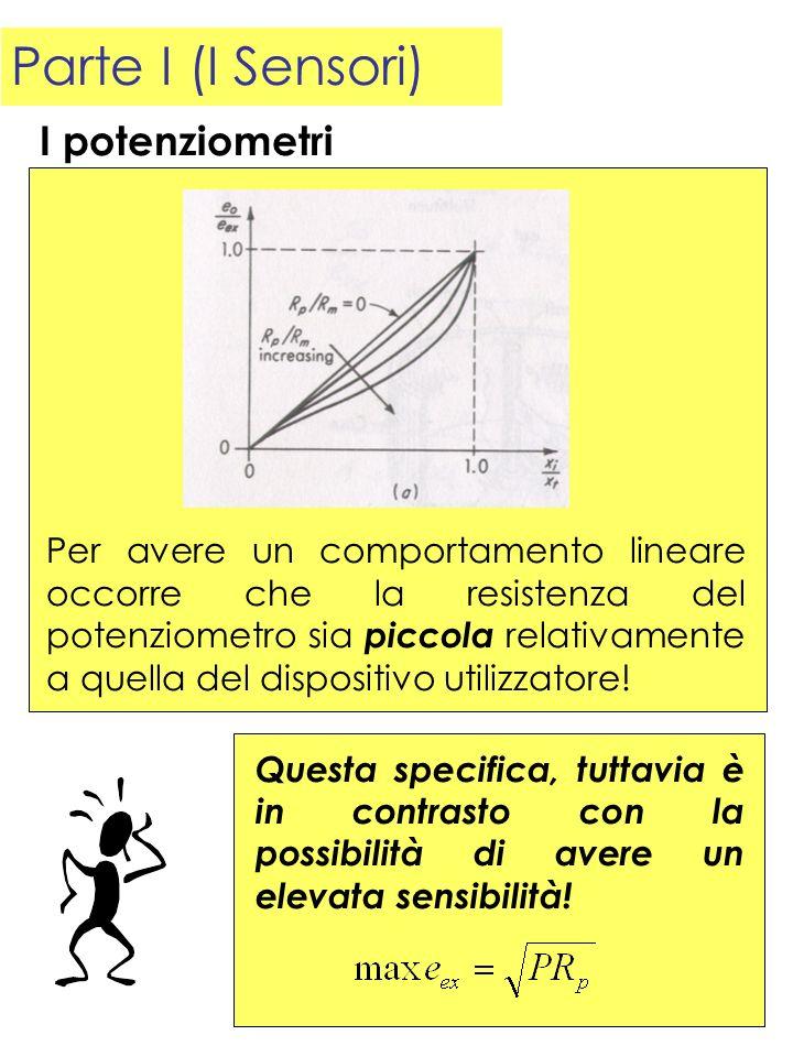 Parte I (I Sensori) I potenziometri Per avere un comportamento lineare occorre che la resistenza del potenziometro sia piccola relativamente a quella