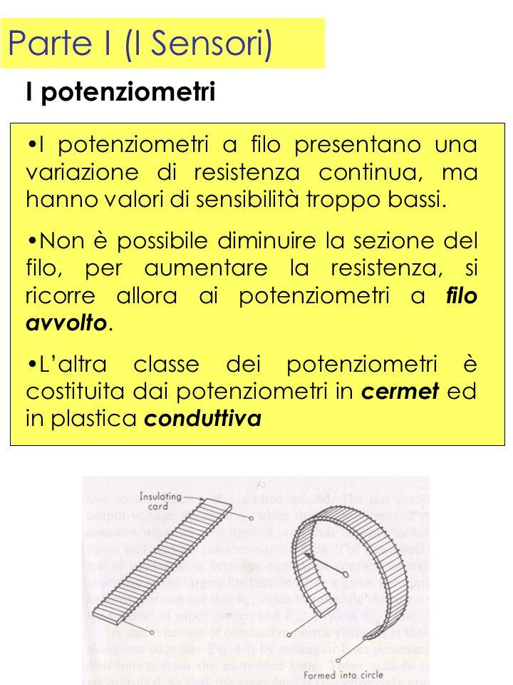 Parte I (I Sensori) I potenziometri a filo presentano una variazione di resistenza continua, ma hanno valori di sensibilità troppo bassi. Non è possib