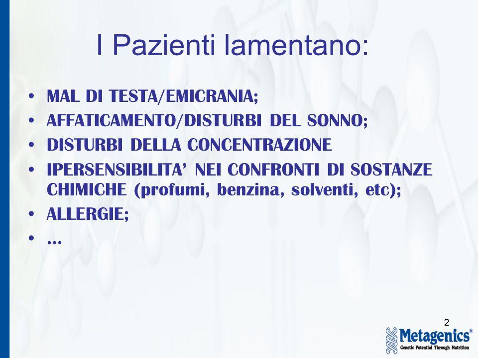 2 I Pazienti lamentano: MAL DI TESTA/EMICRANIA; AFFATICAMENTO/DISTURBI DEL SONNO; DISTURBI DELLA CONCENTRAZIONE IPERSENSIBILITA NEI CONFRONTI DI SOSTA