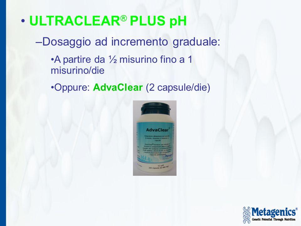 ULTRACLEAR ® PLUS pH –Dosaggio ad incremento graduale: A partire da ½ misurino fino a 1 misurino/die Oppure: AdvaClear (2 capsule/die)
