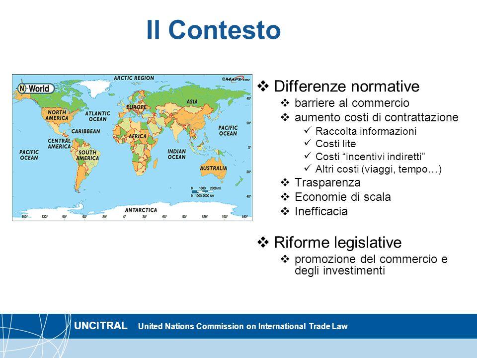 UNCITRAL United Nations Commission on International Trade Law Il Contesto Differenze normative barriere al commercio aumento costi di contrattazione R