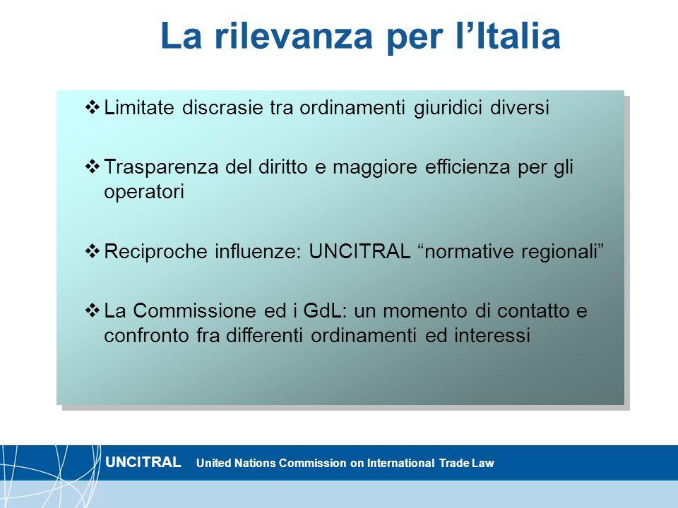 UNCITRAL United Nations Commission on International Trade Law La rilevanza per lItalia Limitate discrasie tra ordinamenti giuridici diversi Trasparenz