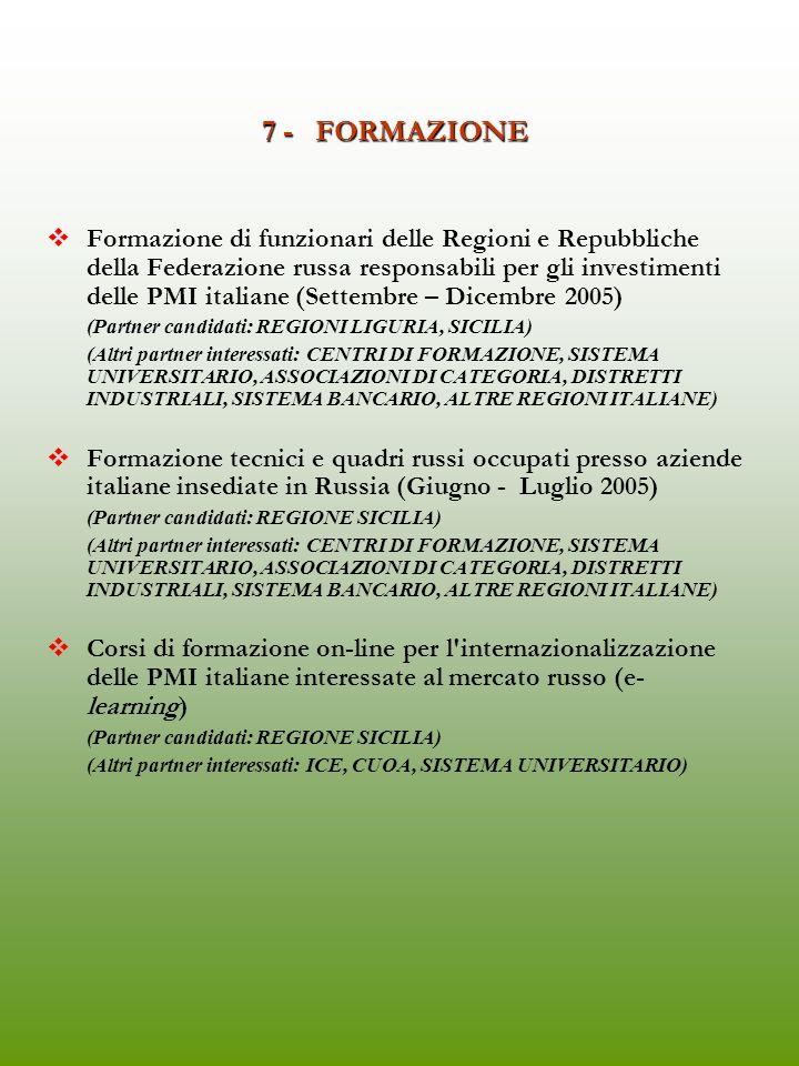 6 - FORUM FRA IMPRESE ITALIANE E RUSSE Le imprese italiane incontrano le imprese russe (Convegno e Workshop sulla collaborazione industriale plurisettoriale) (Partner candidati: REGIONE SICILIA, CAMPANIA) (Altri partner interessati: ICE, MAP, CONFINDUSTRIA, ABI) Da organizzare in occasione MEBEL o Mito e Velocità
