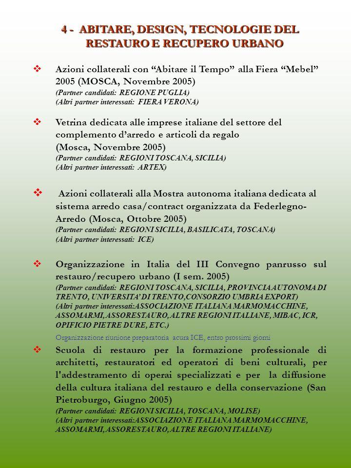 3 - MODA, PERSONA, TEMPO LIBERO I prodotti di eccellenza e di fascia alta nelle boutique di Mosca e San Pietroburgo con azioni collaterali (Periodo: Settembre/ Ottobre 2005) (Partner candidati:REGIONI LAZIO, MARCHE, TOSCANA, SICILIA, PUGLIA, BASILICATA, EMILIA-ROMAGNA, CAMPANIA, CONSORZIO UMBRIA EXPORT) (Altri partner interessati:S.M.I., A.T.I., ANCI, UNIPRO, ANFAO, CAMERA NAZIONALE MODA, AIMPES, ALTA GAMMA, ALTA ROMA) Fissare data (Calzoni- Caprioli, attraverso rispettive segretarie) incontro con SMI (Zegna) : ricordare che padrone GUM ha 5-6 luoghi per programmare ns.