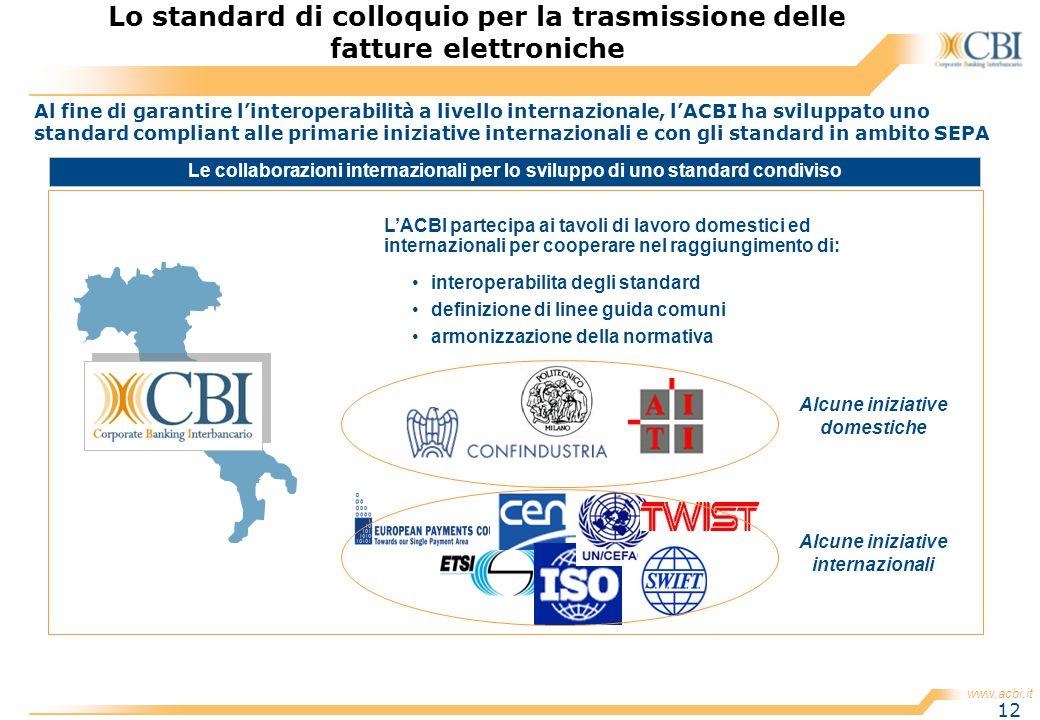 www.acbi.it 12 Al fine di garantire linteroperabilità a livello internazionale, lACBI ha sviluppato uno standard compliant alle primarie iniziative in