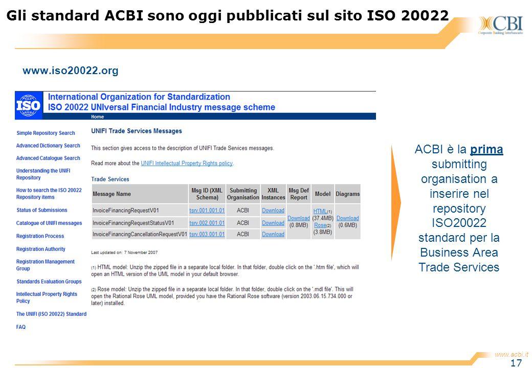 www.acbi.it 17 www.iso20022.org Gli standard ACBI sono oggi pubblicati sul sito ISO 20022 ACBI è la prima submitting organisation a inserire nel repos