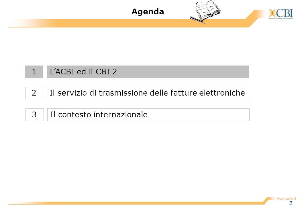 www.acbi.it 2 Agenda Il servizio di trasmissione delle fatture elettroniche2 LACBI ed il CBI 21 Il contesto internazionale3