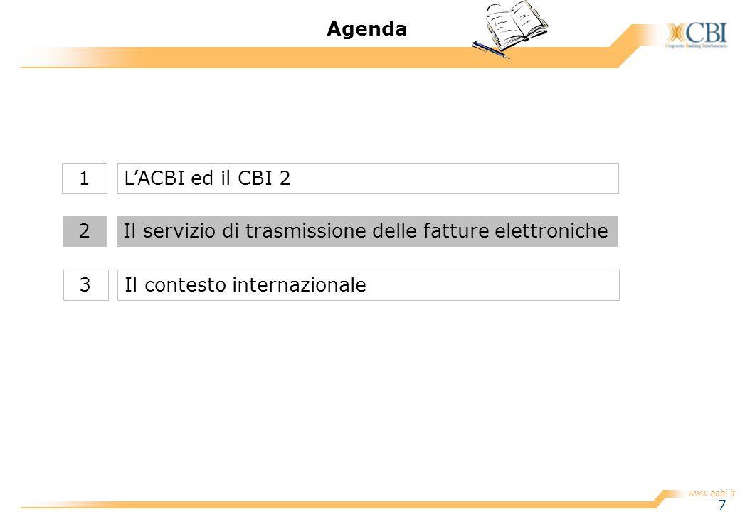 www.acbi.it 7 Agenda Il servizio di trasmissione delle fatture elettroniche2 LACBI ed il CBI 21 Il contesto internazionale3