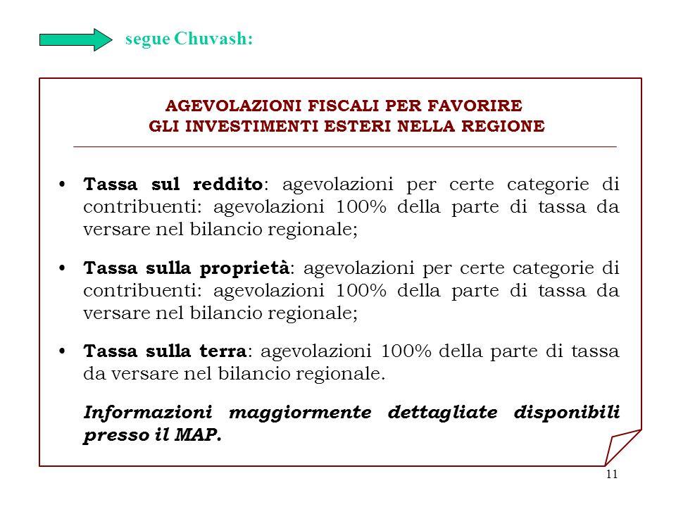 11 AGEVOLAZIONI FISCALI PER FAVORIRE GLI INVESTIMENTI ESTERI NELLA REGIONE Tassa sul reddito : agevolazioni per certe categorie di contribuenti: agevo
