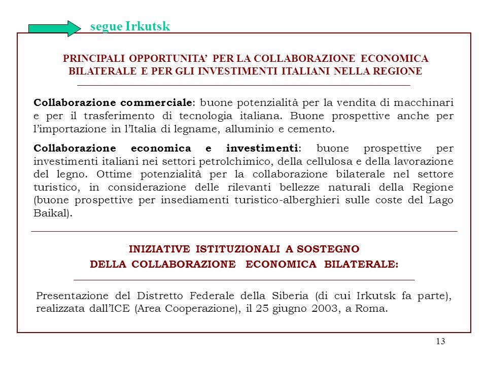 13 Collaborazione commerciale : buone potenzialità per la vendita di macchinari e per il trasferimento di tecnologia italiana. Buone prospettive anche
